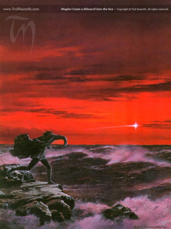 Maglor Casts a Silmaril into the Sea, by Ted Nasmith